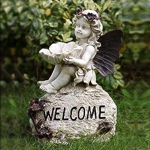 OwMell Welcome Sign Garden Angel Statue Sculpture Figurine, Brown Wings Angel Birdfeeder Statue Indoor Outdoor Home Garden Decoration, Resin 13 Inch