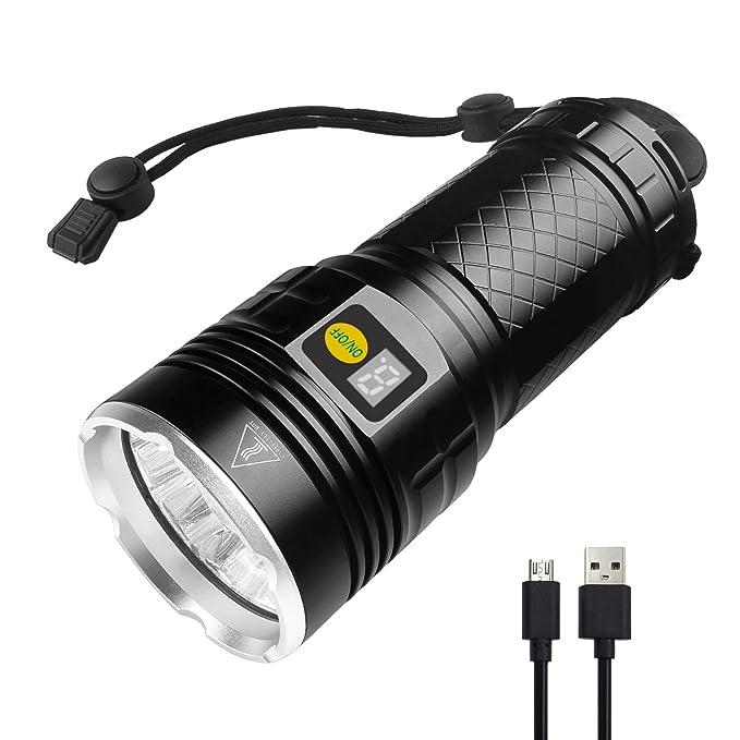 Semlos LED taschenlampe 10000 Lumen, 12xLEDs taschenlampe extrem hell, USB Wiederaufladbare, 4 Modi, Power-Display-Funktion(S