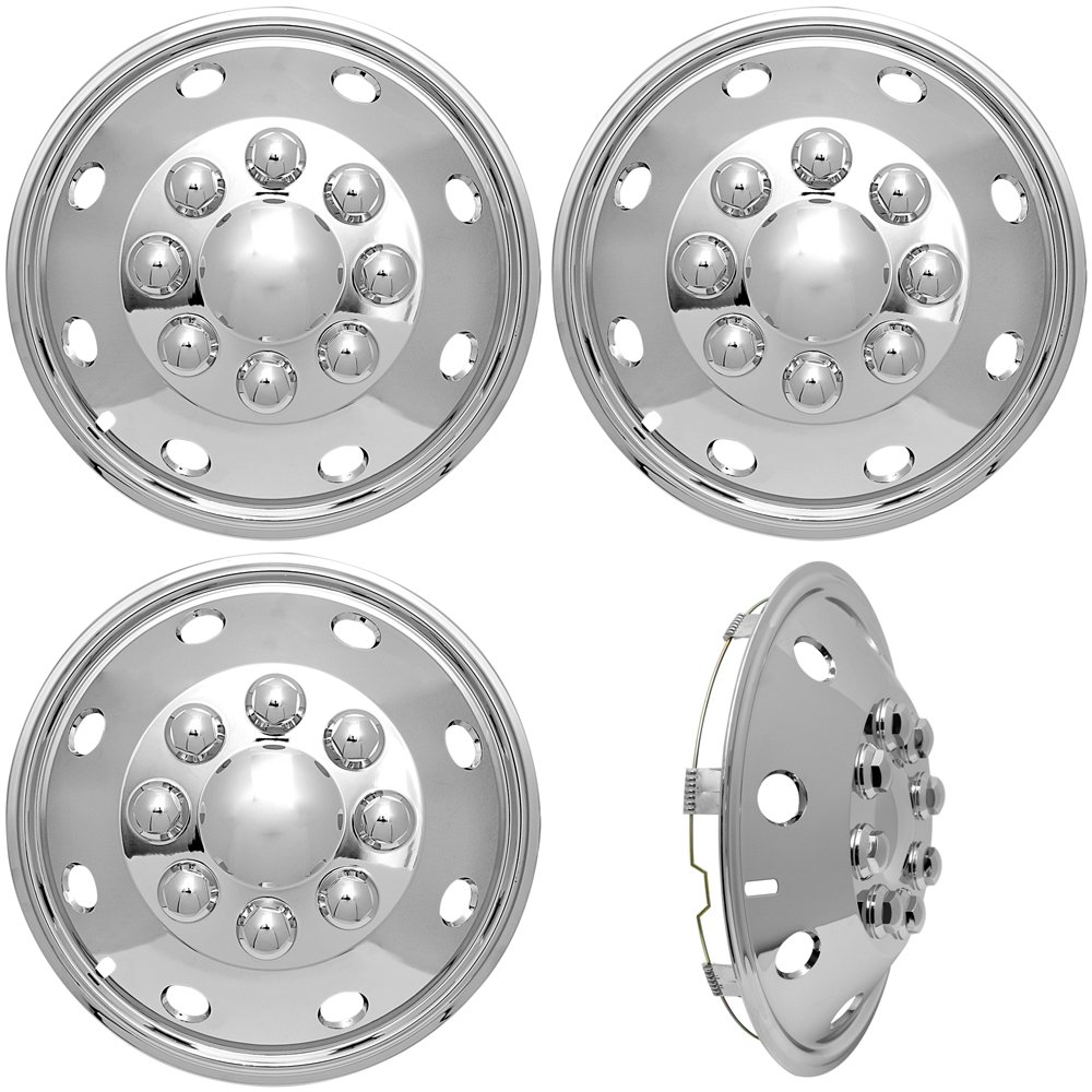 4pc Full Set of 16 Wheel Simulators for 8 Lug 4 Hole for Dually Trucks, RV Trailer Van Stainless Alloy Wheels, OEM Factory Replacement - Universal Fit Easy Snap On by OxGord (Image #1)