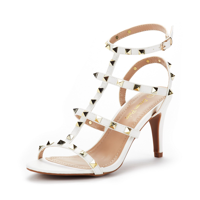 DREAM PAIRS Women's HEROINEE White Fashion Stilettos Open Toe Pump Heeled Sandals Size 8.5 B(M) US