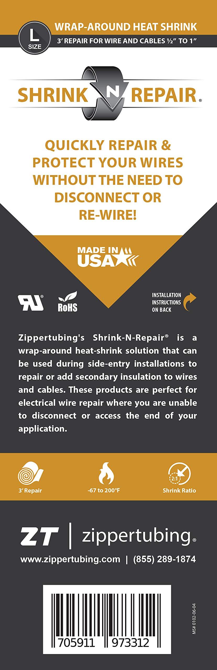 Shrink-N-Repair (L) - Wrap Around Heat Shrink for 0.5'' to 1'' Diameter Wires- 36'' Long