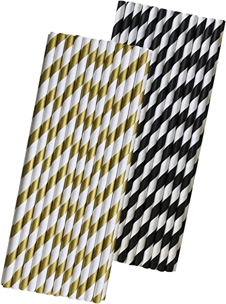 Black and Gold Striped Paper Straws Eco Friendly Biodegradable Party Straws