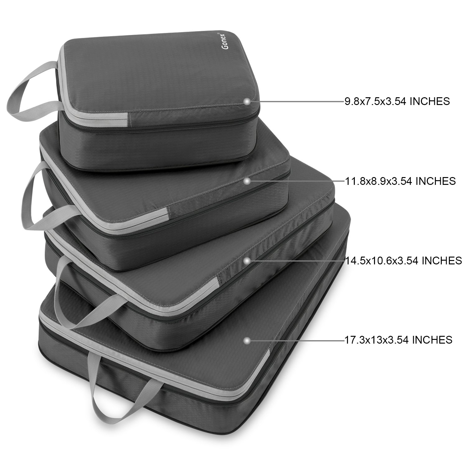 Gonex Compression Packing Cubes, Expandable Packing Organizers 4pcs (Deep Gray) by Gonex (Image #2)