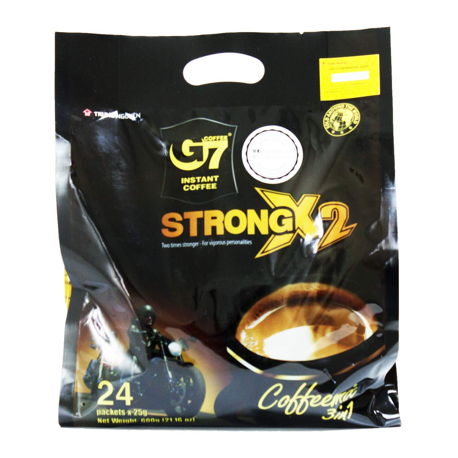 Trung Nguyen - G7 Strong X2 3 In 1 Instant Coffee - 24 sticks | Roasted Ground Coffee Blend Double strength, with Creamer and Sugar, Suitable for Most Coffee Brewing Methods, (24 sticks x 25gr/stick)