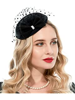 051e8ea9f2e Zivyes Fascinator Hats for Women 20s 50s Hat Pillbox Hat with Veil Headband  Clip Tea Party