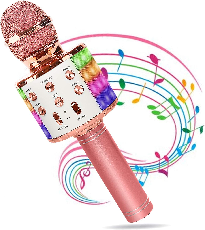 Micrófono Karaoke Bluetooth, Wireless Microfono Inalámbrico Karaoke 4 en 1 con Altavoz PortáTil con Luz LED Multicolor Partido Musica, Compatible con Android/iOS PC AUX o Teléfono Inteligente