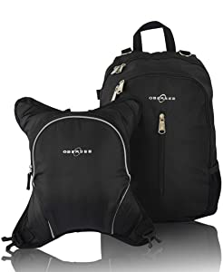 Rio Diaper Backpack with Baby Bottle Cooler and Changing Mat, Shoulder Baby Bag, Food Cooler, Clip to Stroller (Black/Black) - Obersee