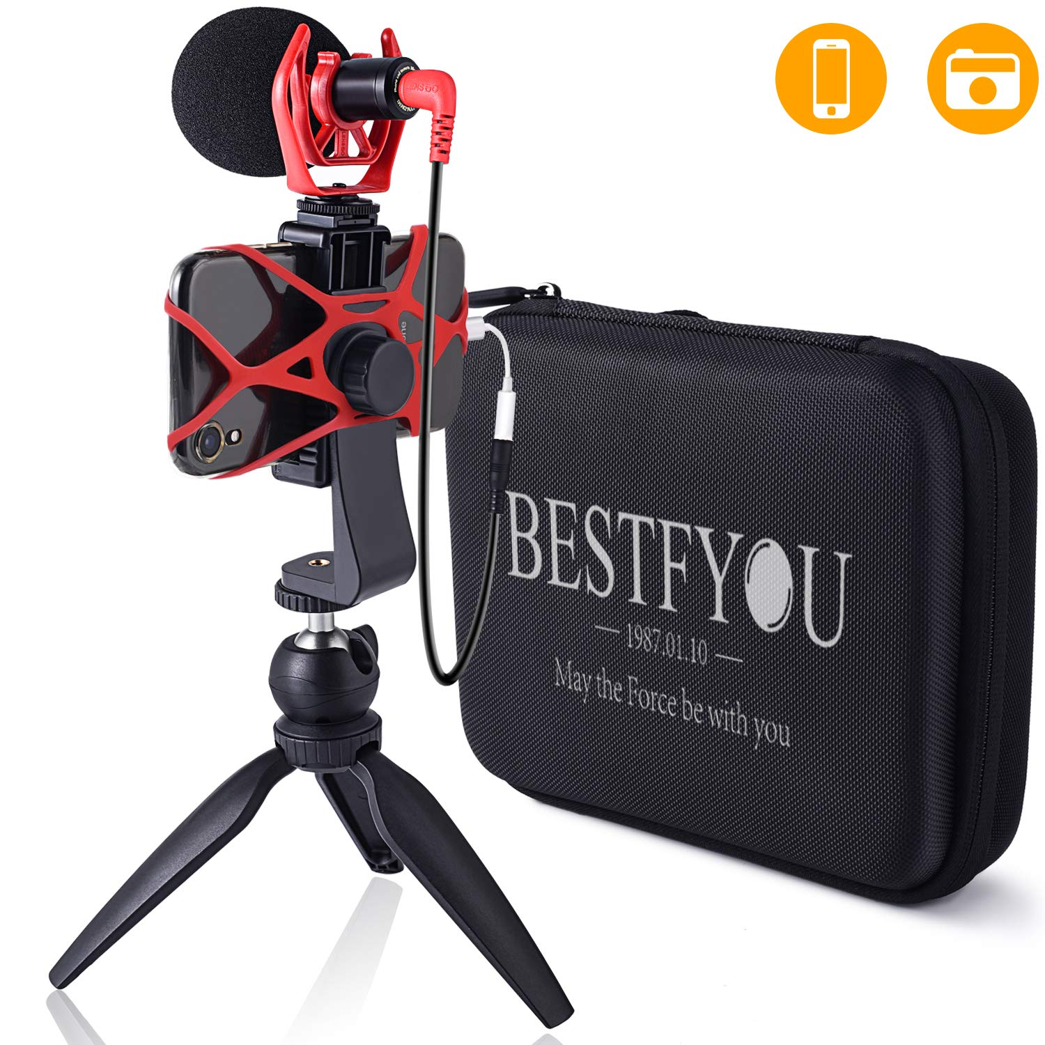 Smartphone Camera Video Microphone with Mini Tripod, Videomicro and Shotgun Microphone for iPhone 6, 6S, 7, 8, X, XR, XS Max Samsung Google - Perfect Vlog, YouTube, Asmr Mic -Perfect Video Kit by BESTFYOU