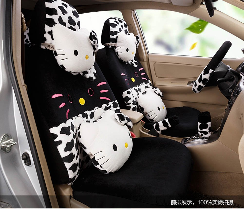 1 set classical cartoon black leopard fashion car front and back seat covers car waist pillows neck pillows hand brake cover by weiwei26