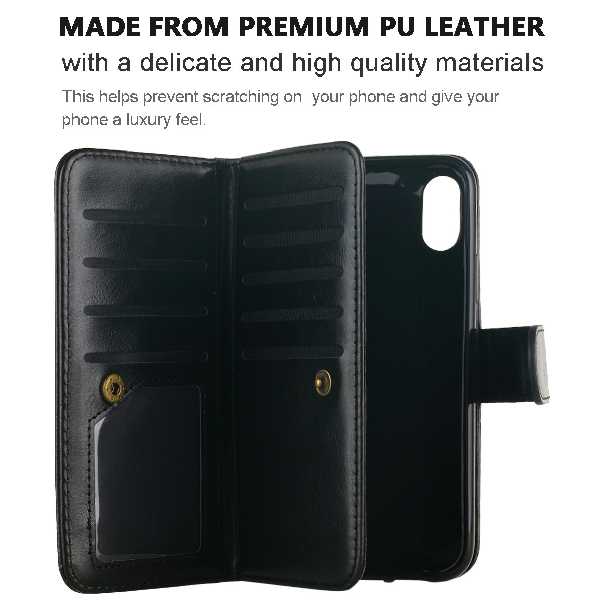 Funda iPhone X,Funda iPhone 10,iPhone X Case, Snewill PU Leather 9 Card Slots Holder Flip Wallet Case with Magnetic Detachable Slim Hard Case for Apple ...