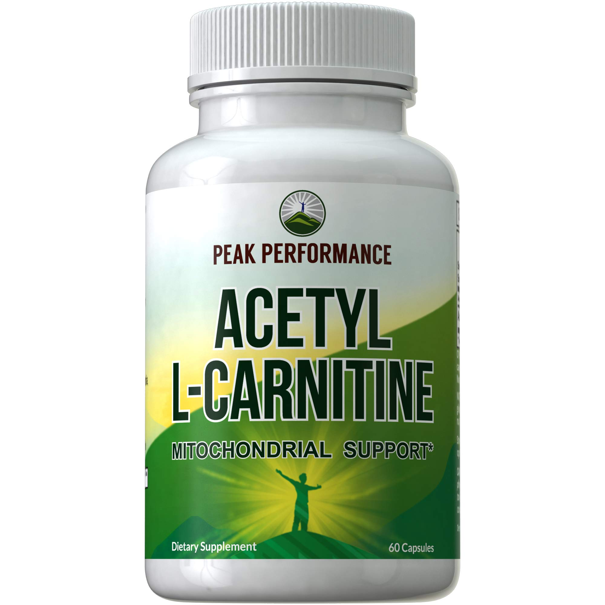 Acetyl L-Carnitine - ALCAR - Highest Quality USA Sourced L Carnitine Supplement. 1 Capsule 500mg. 2 Capsules 1000mg. Natural Amino Acids Pills Support Mitochondria and Brain Health. for Men and Women