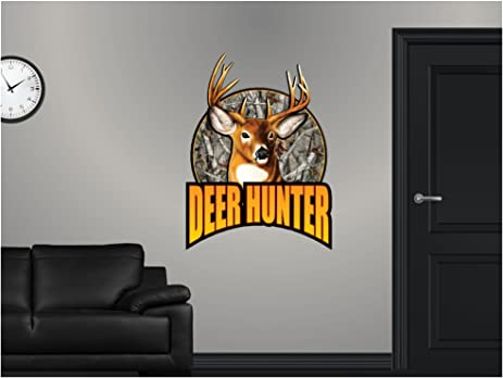 36 deer hunter hunting custom logo wall graphic sticker decal home kids game room man