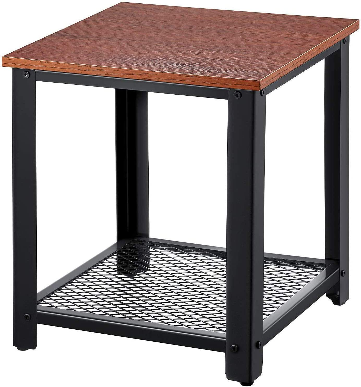 Small End Table 2-Tier End Side Tables Bedroom Living Room Nightstand with Storage Shelf, Sturdy Wood and Stable Black Metal Frame Bedside Corner Furniture Dark Brown