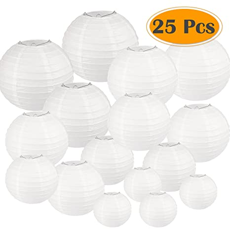Selizo 25 Packs White Paper Lanterns with Assorted Sizes