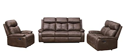 Betsy Furniture 3 Pc Microfiber Fabric Recliner Sofa Set Living Room Set In Brown Sofa Loveseat And Chair 8065 321