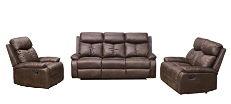 Awe Inspiring Betsy Furniture 3 Pc Microfiber Fabric Recliner Sofa Set Living Room Set In Brown Sofa Loveseat And Chair 8065 321 Machost Co Dining Chair Design Ideas Machostcouk