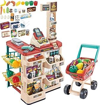 deAO Supermercado Tienda de Juguete Puesto de Mercado Infantil con Carrito de la Compra, Scanner, Caja Registradora y más de 20 Accesorios de Imitación Incluidos (Rojo): Amazon.es: Juguetes y juegos