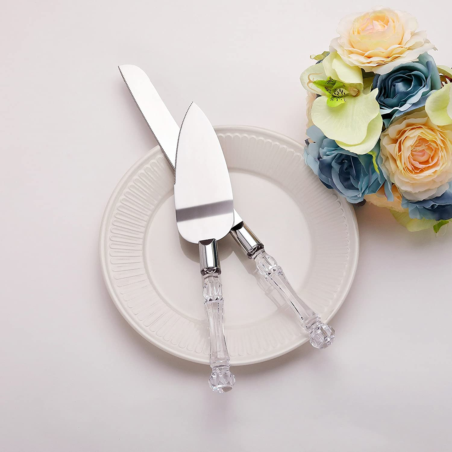 AW Stainless Steel Wedding Cake Knife and Server Set - Cake Knife 13.2 Inch, Cake Server 10.8 Inch - Gift for Wedding, Anniversary, Engagement, Birthday AWEI