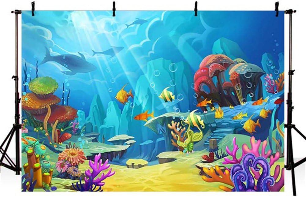 Fondale acquatico Mehofoto Sotto il mare Fotografia di corallo di pesci tropicali Sfondo 7x5ft Acquario marino Acquario fotografico Fondali