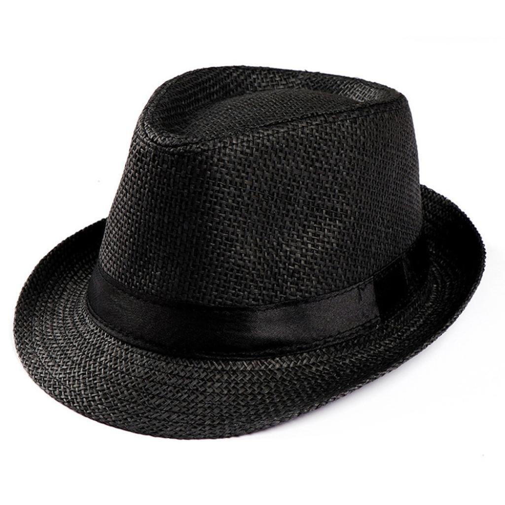 Caopixx Jazz Hats, Unisex Trilby Gangster Cap Beach Sun Straw Hat Band Sunhat 2018 (One Size, Black)