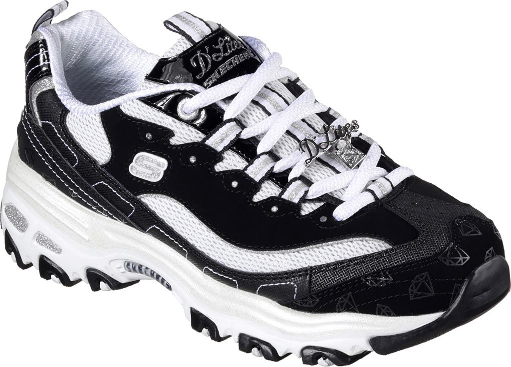 Skechers Womens D'Lites - Be Dazzling B01M0OUKLW 9 B(M) US|Black/White