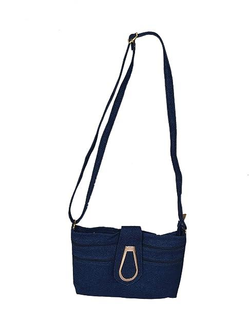e4e25475cf3 Denim Blue Golden Clip Lock Multi Pokcet Jeans Sling Side Bag With ...
