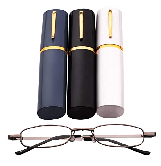 a7c097fc51b MT74 Pen Holder Grey Frame Compact Reading Glasses with Case  +1.0+1.5+2.0+2.5 (Grey Frame with Black Case