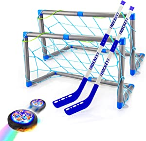 Hover Hockey Set Kids Toys, Rechargeable Hover Soccer Ball Hockey Game with Led Lights 2 Goals 2 Sticks-Training Soccer Indoor Sports Birthday Gifts for 3 4 5 6 7 8 9 Year Old Boys/Girls