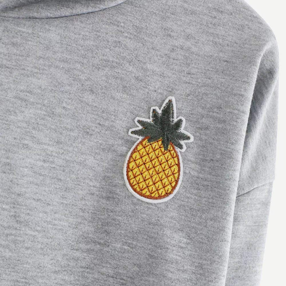 Womens Sweatshirts Pinapple Print Cute/ Crop Top HoodiesLong Sleeve Drawstring Pullover Shirt for Teen Girls Hatop