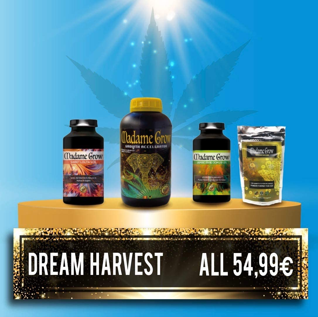 MADAME GROW / Fertilizantes Orgánicos/Obtén una Cosecha de ensueño/Kit Dream Harvest/para Marihuana o Cannabis/Kit 4X 250 ml /