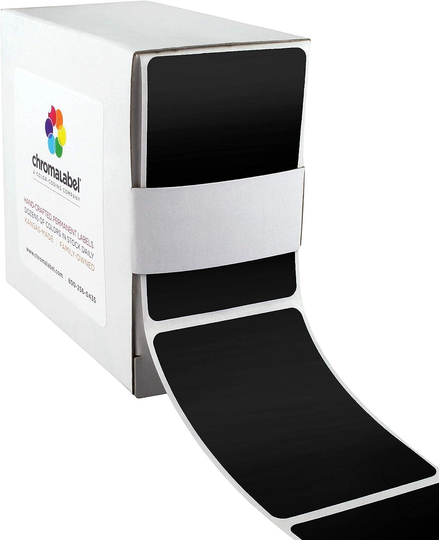 ChromaLabel 2 x 3 inch Permanent Color-Code Rectangle Labels, 250/Dispenser Box, Black