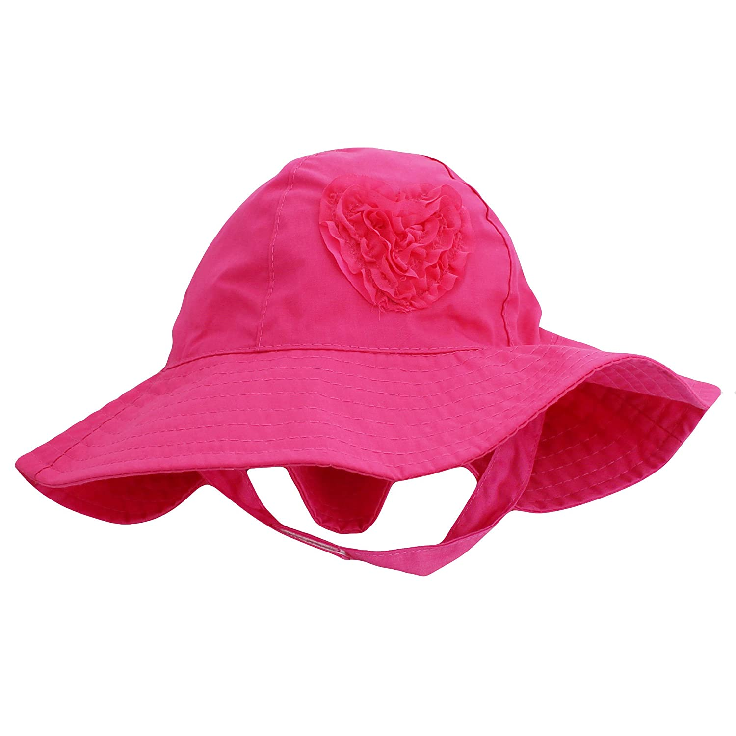 Amazon.com  Little Me Sun Hat with Heart and Chin Strap for Toddler Girls  Solid Pink 2T-4T  Baby 1bf7e54ef81