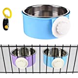 PETLESO Stainless Steel Bowl Dog Crate Bowl Water and Feed Bowl for Pet Dog Cat Bird with Dog Training Clicker