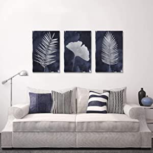 Framed Large Canvas Navy Blue Wall Art for Home, 3 Panels Hand Painted Pictures, Modern Palm Ginkgo Leaves Wall Decor for Living Room Bedroom Bathroom Stretched Ready to Hang 48x24Inch