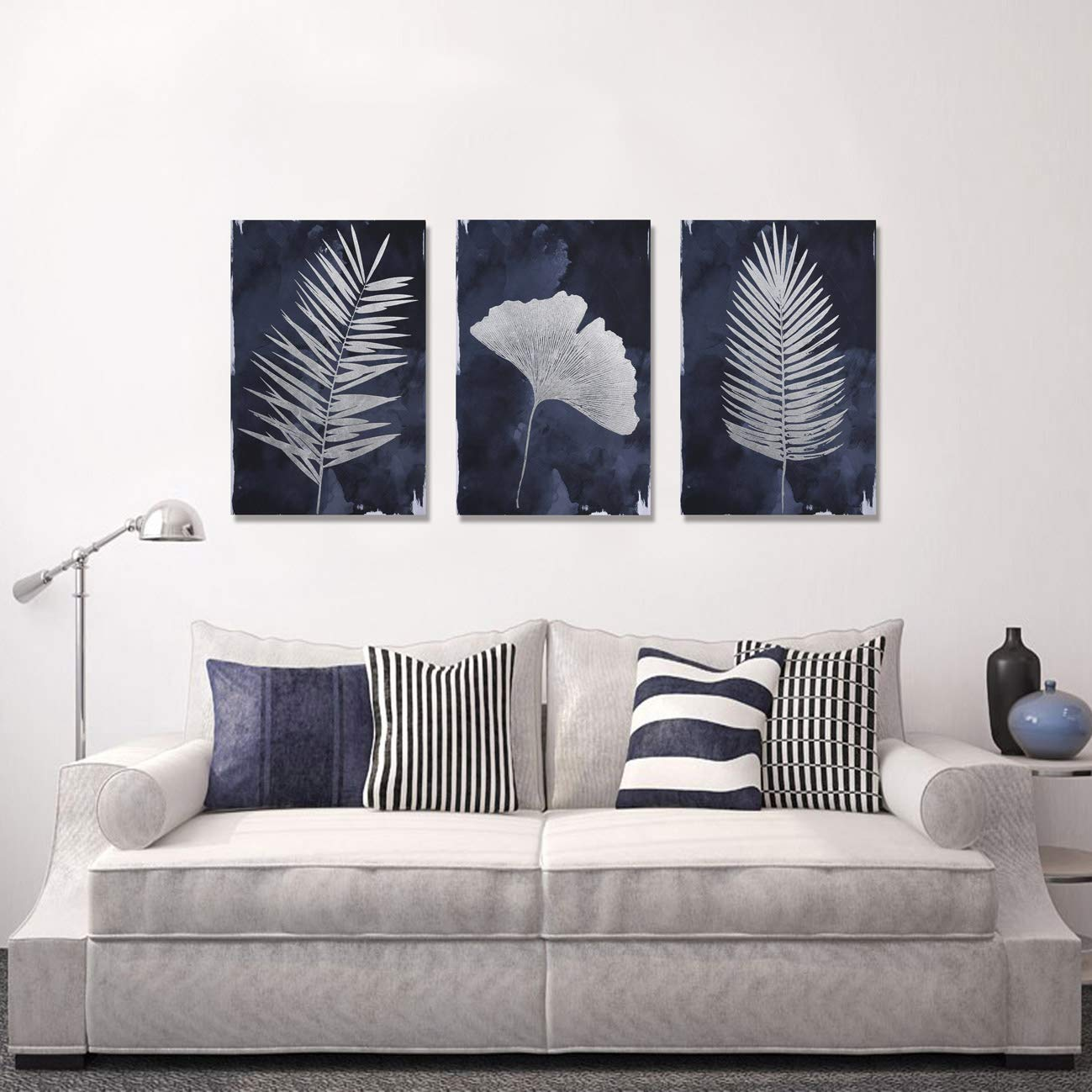Framed Large Canvas Navy Blue Wall Art for Home, 3 Panels Hand Painted  Pictures, Modern Palm Ginkgo Leaves Wall Decor for Living Room Bedroom  Bathroom ...