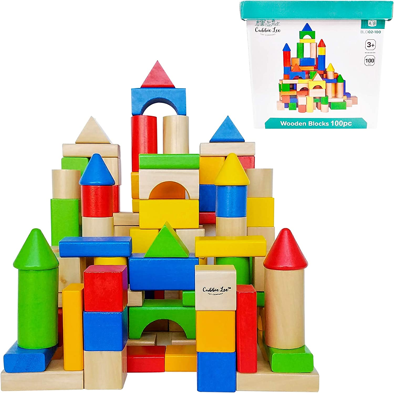 100 pc for Toddlers Preschool Age Classic Build /& Play Toy Cubbie Lee Premium Wooden Building Blocks Set Classic Hardwood Plain /& Colored Small Wood Block Pieces for Boys /& Girls