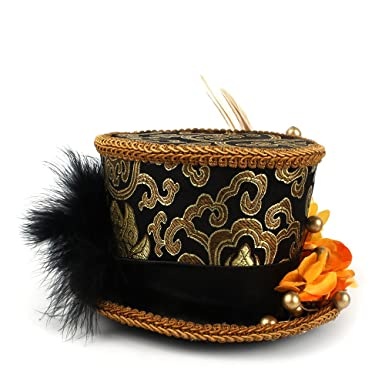 MUMUWU Women s Mini Top Hat Gold and Black Pageant Hat Mad Hatter ... a46509231dc