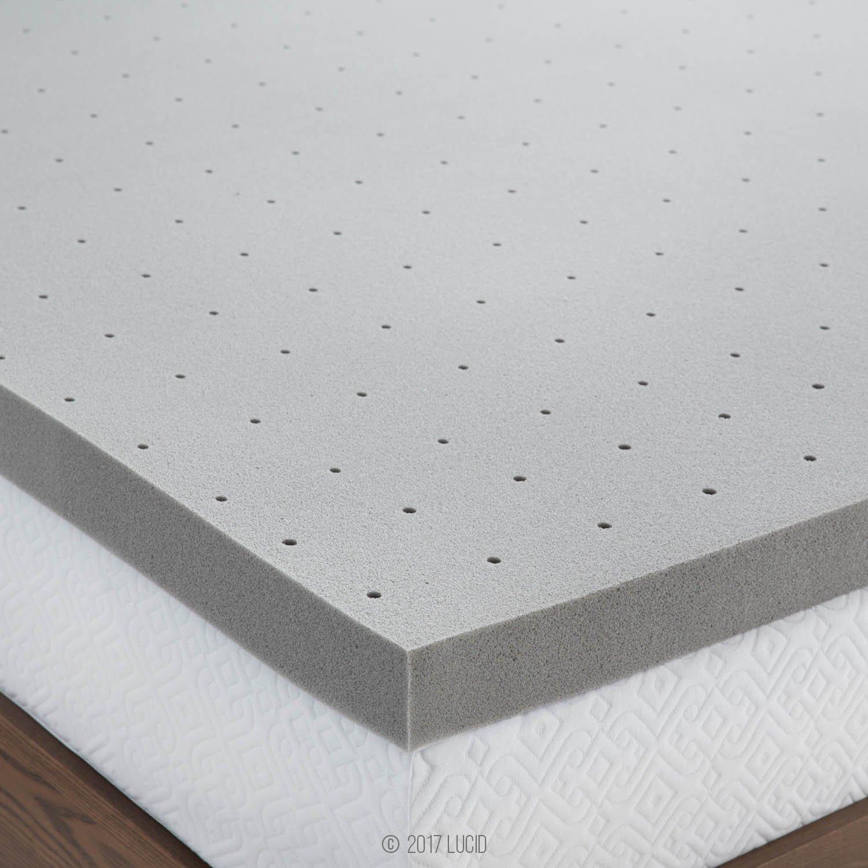 Lucid 3 Bamboo Charcoal Memory Foam Mattress Topper-Twin XL