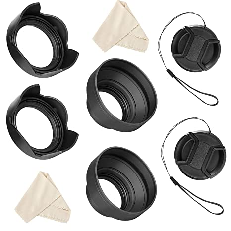 55mm and 58mm Lens Hood Set for Nikon D3400 D3500 D5300 D5500 D5600 D7500  DSLR Camera with AF-P DX NIKKOR 18-55mm f/3 5-5 6G VR and AF-P DX NIKKOR