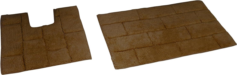Chocolate Juego de Alfombrillas para ba/ñera y Pedestal 80 x 50 x 2 cm Rapport Tile algod/ón