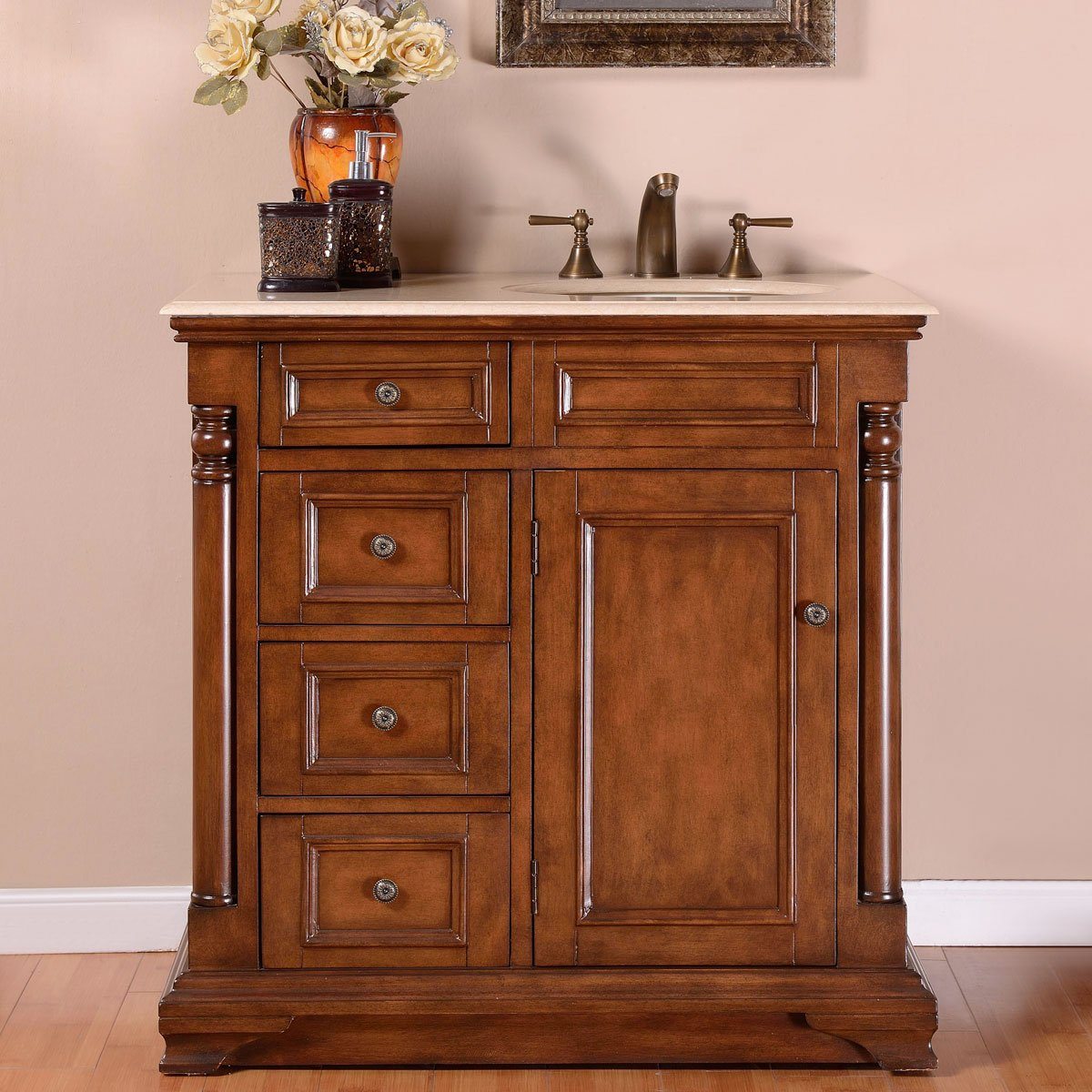 Silkroad Exclusive Single Right Sink Bathroom Vanity with Furniture Cabinet, 36-Inch by Silkroad Exclusive