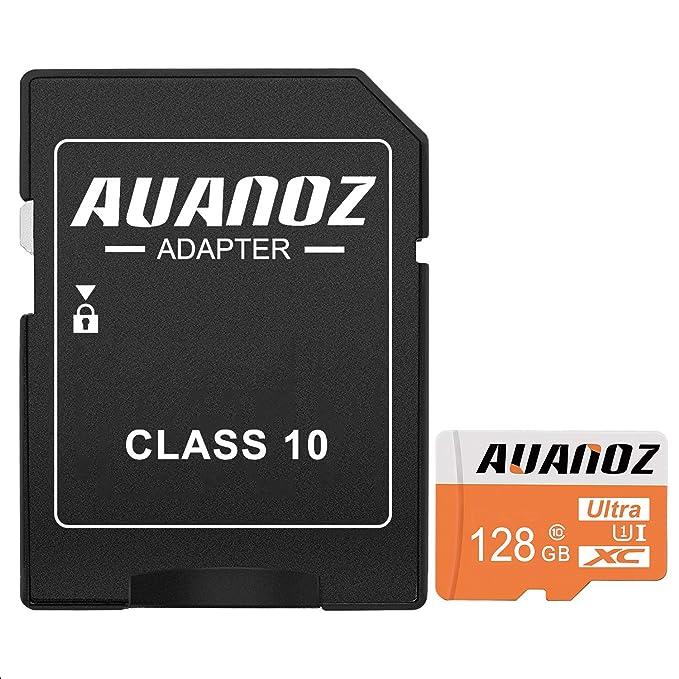 Auanoz Tarjeta De Memoria TF Ultra Class 10 UHS-I Tarjeta De Memoria De Alta Velocidad para Teléfono,Tableta y PC - con Adaptador. (Naranja-128gb)