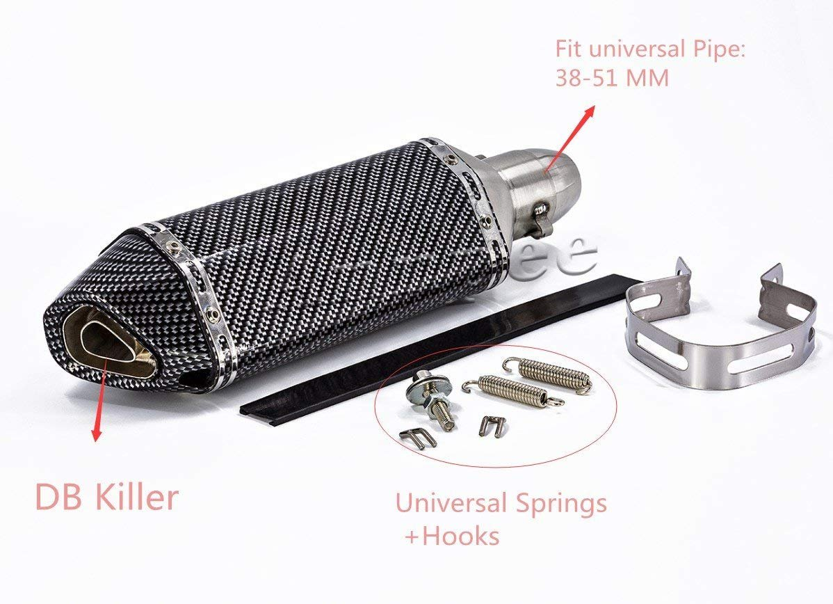 Annpee Carbon Fiber 1.5-2Inlet Exhaust Muffler with Removable DB Killer for Street//Sport Motorcycles and Scooters with 38-51mm diameter exhaust pipes. Carbon Fiber-2