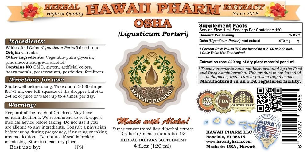 Osha Liquid Extract, Osha (Ligusticum porteri) Tincture 2x32 oz by HawaiiPharm (Image #2)