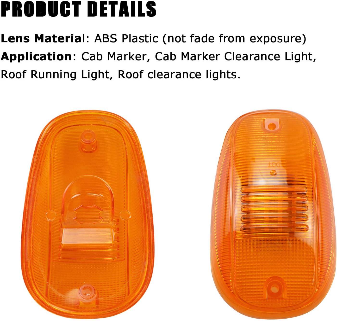 Amber Lens Cab Roof Marker Lights Cover for 2003-2016 Dodge Ram 1500 2500 3500