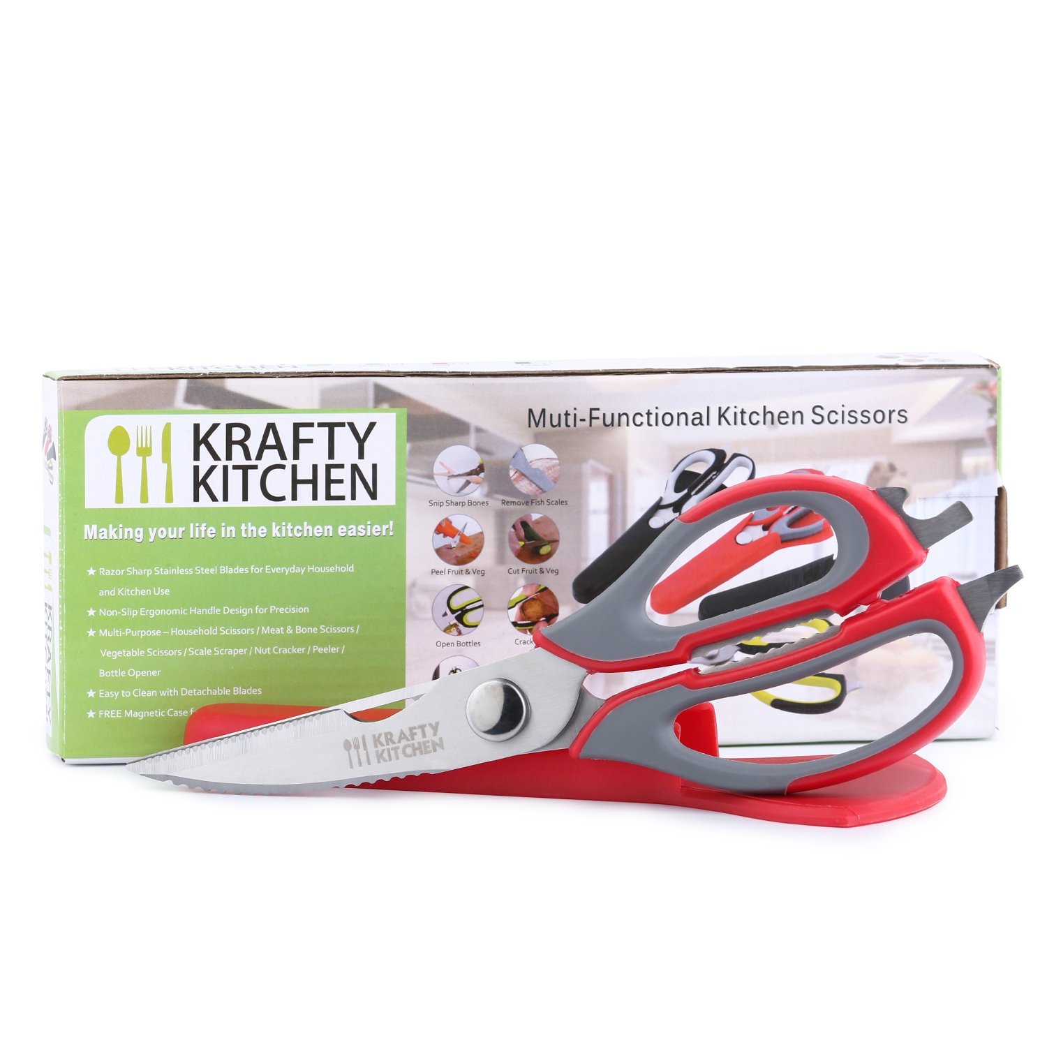 Cross Red Multifunctional Kitchen Scissors - Premium 7 in 1 Heavy Duty Kitchen Accessory - Top Stainless Steel Kitchen Shears W/ Firm-Grip Handles + Free Magnetic Holder for Easy Storage & Safety Cross Creation Products Ltd SYNCHKG120309