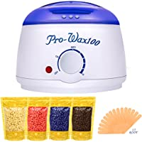 Boniss Hard Wax Warmer Hair Removal Waxing Kit for Safe at Home Wax Melter with 15 Wax Applicator Sticks and 4 Flavors Hard Wax Beans 3.5 oz a Bag(Strawberry, Lavender,Milk,Chocolate)