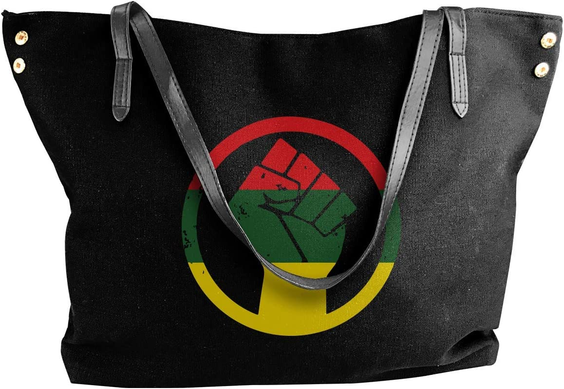 RASTA BLACK POWER FIST Womens Canvas Shoulder Bag Large Capacity Messenger Bags