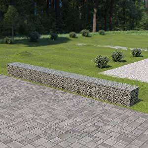 YVX Gabion Wall with Covers Stone Basket Garden Fence 600x50x50 cm Galvanised Steel
