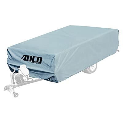 "ADCO 2893 Pop Up Folding Trailer Polypropylene Cover, Fits 12'1"" - 14' Trailers, Gray/White: Automotive"